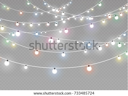 Christmas lights isolated on transparent background. Xmas glowing garland. Vector illustration - Shutterstock ID 733485724