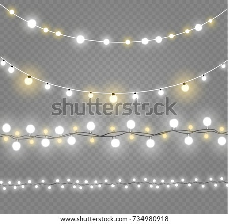 Shutterstock Christmas lights isolated on transparent background. Xmas glowing garland. Vector illustration