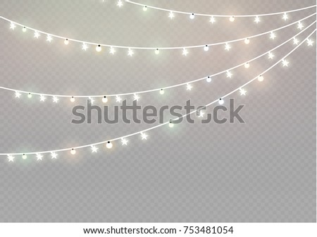 Christmas lights isolated on transparent background. Xmas glowing garland. Vector illustration - Shutterstock ID 753481054