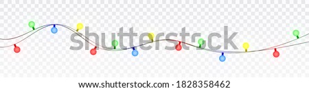 Christmas lights isolated realistic design elements. Glowing lights for Xmas Holiday cards, banners, posters, web design
