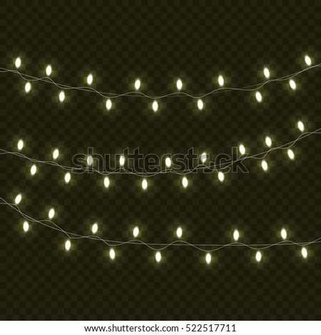 Christmas lights isolated realistic design elements. Glowing lights for Xmas Holiday greeting card design. Garlands.