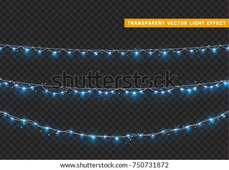 Christmas lights isolated realistic design elements. Xmas glowing lights, garlands decorations.