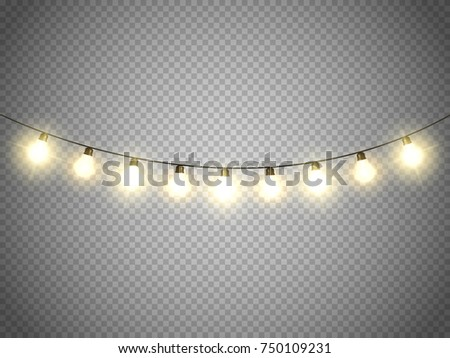 Christmas lights isolated. Xmas lamps. Vector illustration