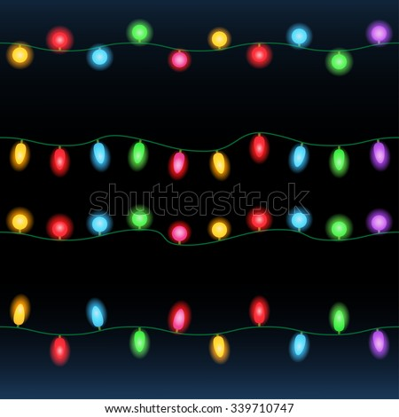 Christmas lights. Seamless lines of lighting bulbs on black vector background