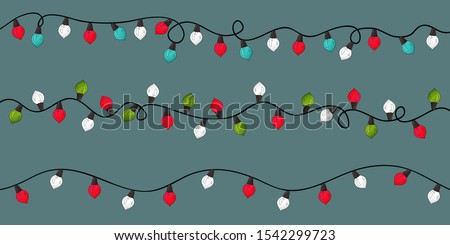Christmas lights set. Color garlands isolated. Red, white, green, blue glowing lights banner. Flash lights string with swirl. Happy new year  and merry christmas decor. Hand drawn border color lams.