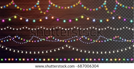 Christmas lights set, colored garlands, New Year design,festive decorations on wooden background. Flat vector illustration, wood texture. Separated editable elements under masks.