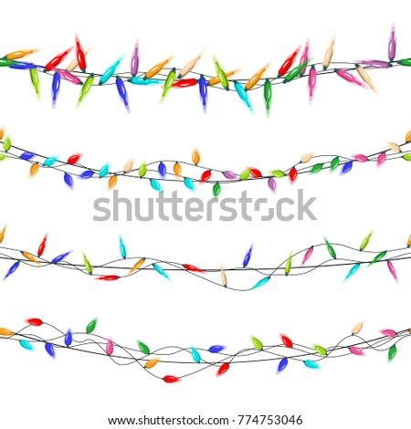 christmas lights vector garlands christmas decorations isolated on white background illustration