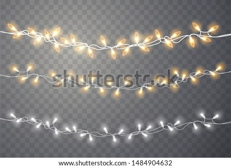 Christmas lights. Xmas string, vector glowing garland