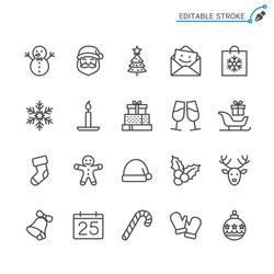 Christmas line icons. Editable stroke. Pixel perfect.