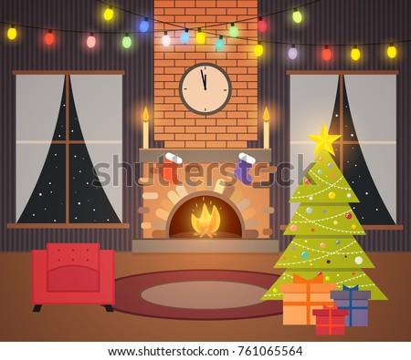 christmas living room night