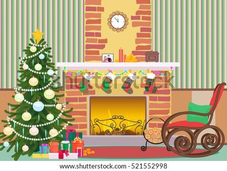 christmas livingroom flat