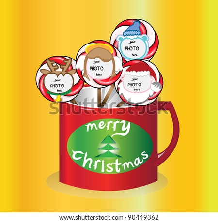 Christmas lollipops with faces and place for your photo