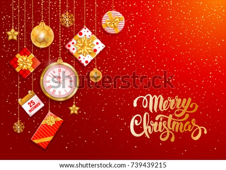 Christmas luxury design with festive objects on red background. Calligraphy inscription Merry Christmas. Vector illustration.