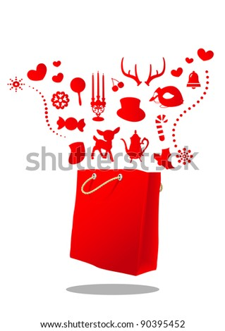 christmas magic red bag - stock vector