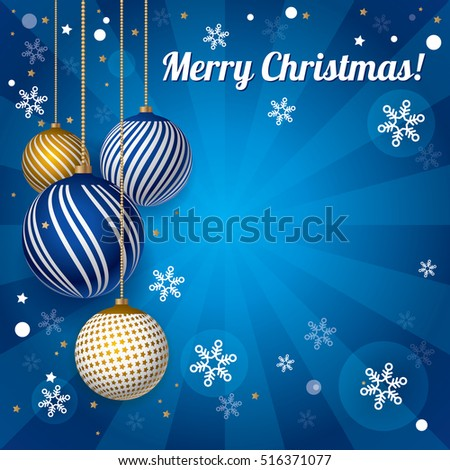 Christmas mail card, design for new year 2017, vector. Beautiful snowflakes on a winter blue background. Decorative items, color balls for Christmas, illustration