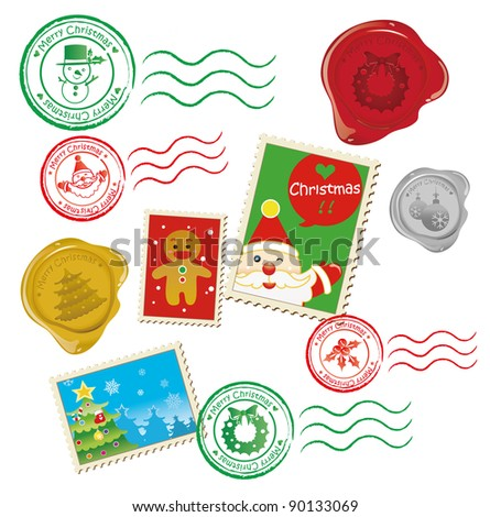 Christmas Mail Graphic - stock vector