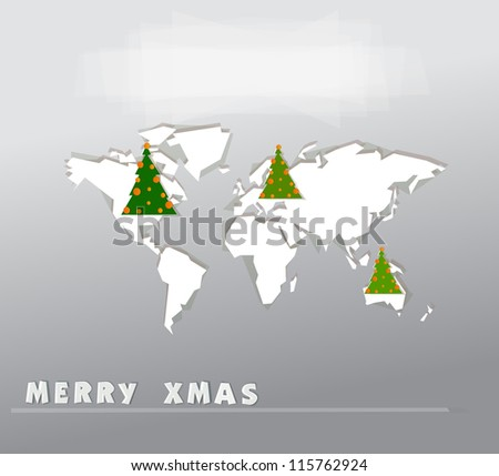 Christmas map background - stock vector