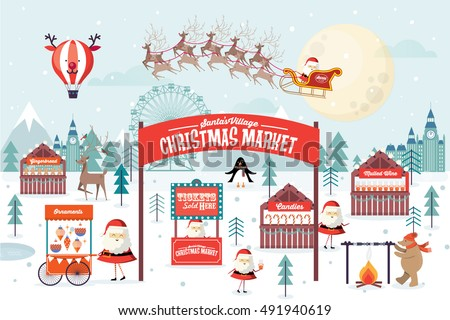 christmas market template vector/illustration