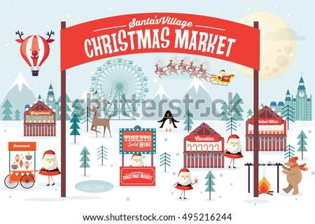 christmas market vector