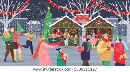 Christmas market vector, shops with souvenirs. Festive kids and adults, man and woman with children, streets with flags. People walking between decorated stalls or kiosks and having rest with family