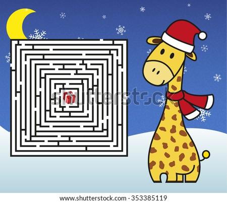 christmas maze   help giraffe