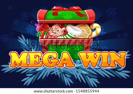 Christmas Mega Win. Screen background for 2D game and casino slots. Isolated object on separate layers.