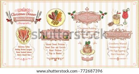 Christmas menu list design, holiday menu - main dishes, sides, desserts and drinks. Hand drawn vector illustration