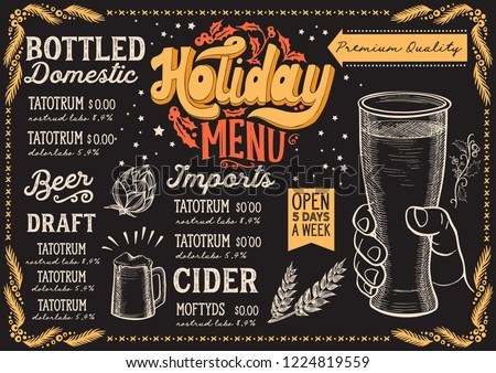 Christmas menu template for beer restaurant and bar on a blackboard background vector illustration for xmas night celebration. Design poster with vintage lettering and holiday hand-drawn graphic.