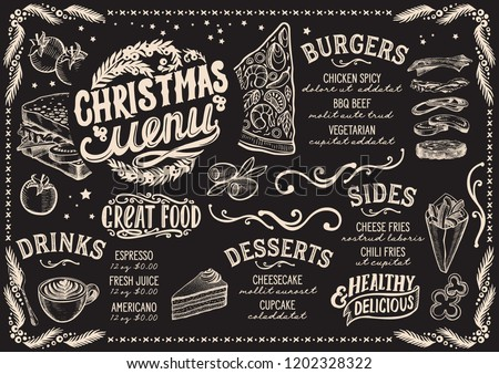 Christmas menu template for restaurant and cafe on a blackboard background vector illustration for xmas food dinner celebration. Design poster with vintage lettering and holiday hand-drawn graphic.