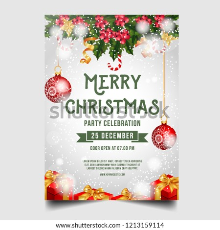 Christmas Merry Brochure with Christmas ornaments, berry, gifts