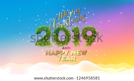 merry christmas and happy new year 2019 vector illustration concept for background