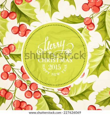 Christmas mistletoe drawing over card with holiday text and border. Vector illustration.