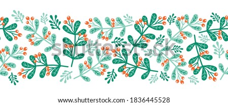 Christmas mistletoes seamless vector border. Scandinavian style green and red Christmas holiday repeating pattern. Use for ribbons, fabric trim, cards