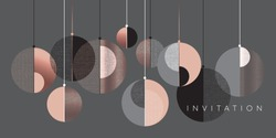 Christmas modern concept baubles geometric composition. Lux and business style laconic xmas design element for card, header, invitation, poster, social media, post publication.