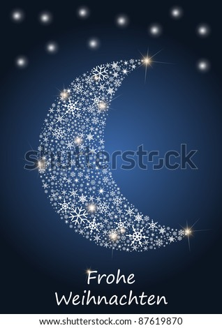 Christmas moon with blue background - stock vector