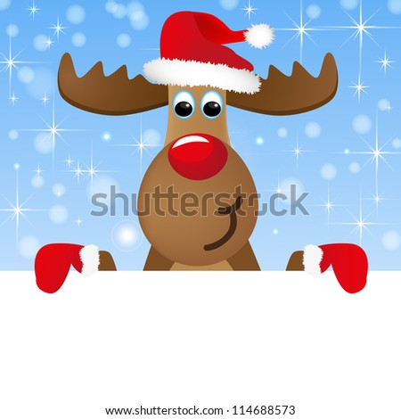 Christmas moose holds card