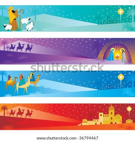 christmas nativity banners