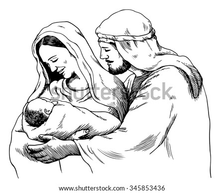Christmas nativity scene of Joseph and Mary holding baby Jesus, hand drawn sketch
