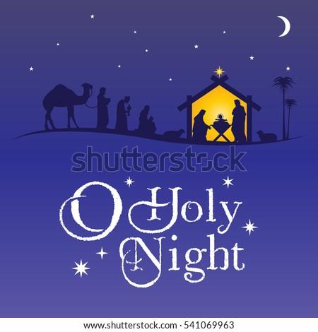 Christmas Nativity Scene Silhouette, vector