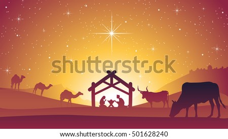Christmas Nativity Scene with Baby Jesus Christ in Manger