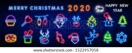 Christmas neon icon set. Merry Christmas and Happy New Year. Set neon icon, label, emblem. Bright signboard, light banner. Vector illustration