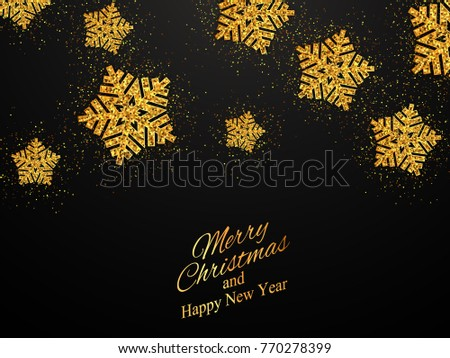 Christmas, New Year background with gold snowflakes. Vector illustration  #770278399
