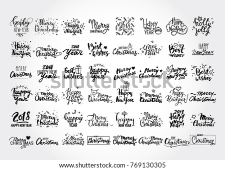 Christmas & New Year big vector collection of handwritten lettering, label, emblem, text design elements with winter holiday symbols. Festive quotes Merry Christmas, Happy New Year 2018, Best wishes.