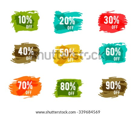 Christmas, new year, black friday, cyber monday or winter autumn sale percents. Vector paint watercolor ink brush, splash. Colorful discount elements. Discounts template. Easy to change color.