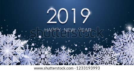 Christmas New Year 2019 card with shine paper snow flake. Falling snowflakes on a dark and blue winter background. Vector illustration. Flyers Banners Style. Merry Christmas, New Year design. EPS 10.