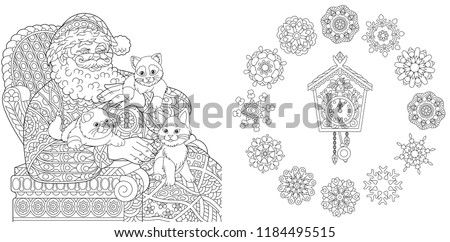 Christmas. New Year. Coloring Pages. Coloring Book for adults. Santa Claus and cats. Vintage snowflakes. Antistress freehand sketch drawing with doodle and zentangle elements.
