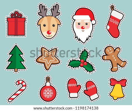 Christmas, New Year cute symbols sticker set: patches of Santa Claus, deer head, gingerbread man, candy, gift, ball, bell, mistletoe, Christmas tree, mitten on green background. Vector illustration.
