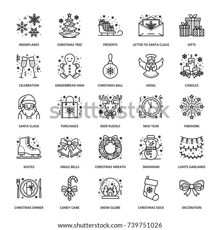 Christmas, new year flat line icons. Winter holidays - pine tree gift, snowman, santa claus, fireworks, angel. Vector illustration, signs for celebration xmas party.