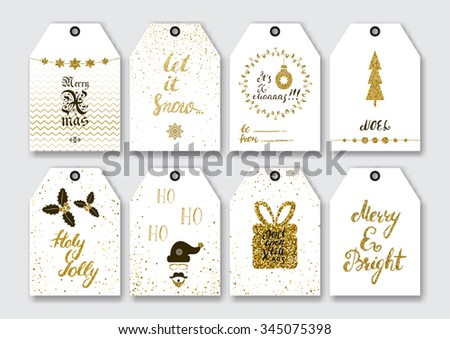 Christmas, New Year Gift Tags Set With Gold Glitter Textured