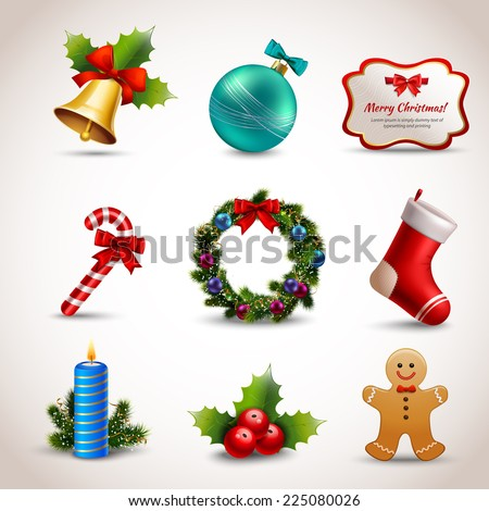 Christmas new year holiday decoration realistic icons set isolated vector illustration